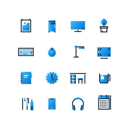 Flat outline vector set of workstation elements. Desktop icons set. Workplace design templates.