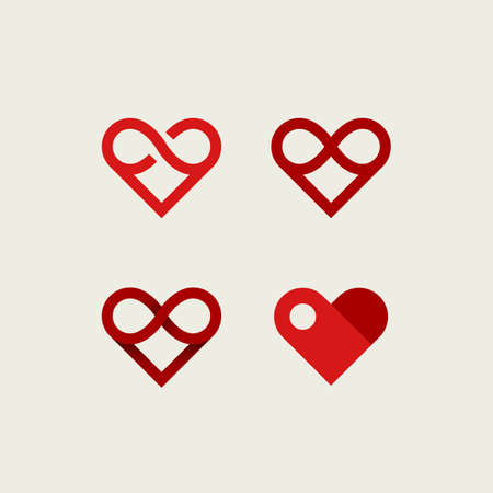 Vector set of infinite heart logos. Outline, flat and gradient logotypes.