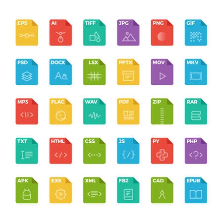 Vector flat icon set of file formats with outline icons.