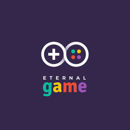 Outline gradient vector logo of gamepad. Design logotype template for game company or service.