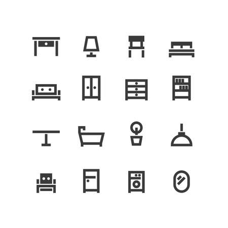 Vector set of black outline icons of interior furniture. 矢量图像