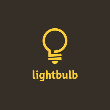 Light bulb outline vector logotype. Fully editable design template of eco energy and power. Electricity concept. 矢量图像