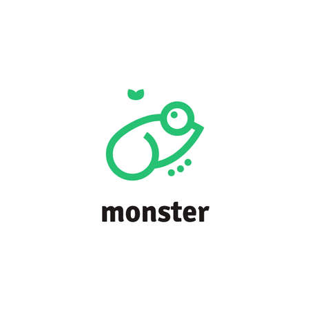 Vector line logotype of green frog and fly. Minimalist frog logo for company or project. 矢量图像