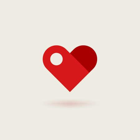 Flat vector logotype of heart. Design concept of infinite heart