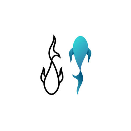 Vector illustration of outline and gradient logotype of fish.