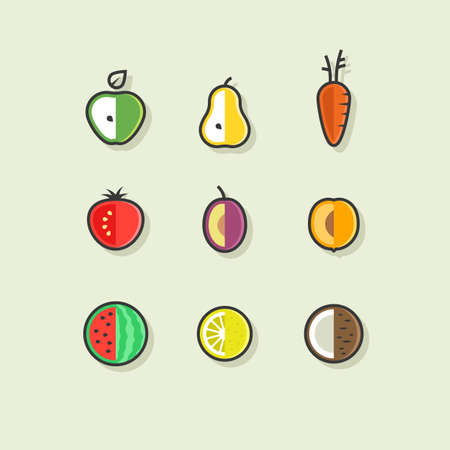 Outline vector set of flat fruits and vegetables.