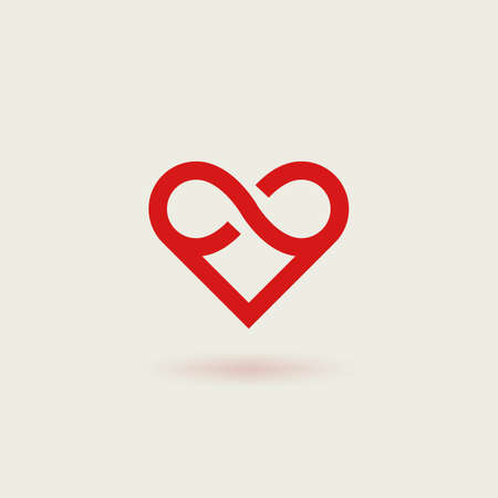 Outline vector icon of heart. Design concept of infinite heart.
