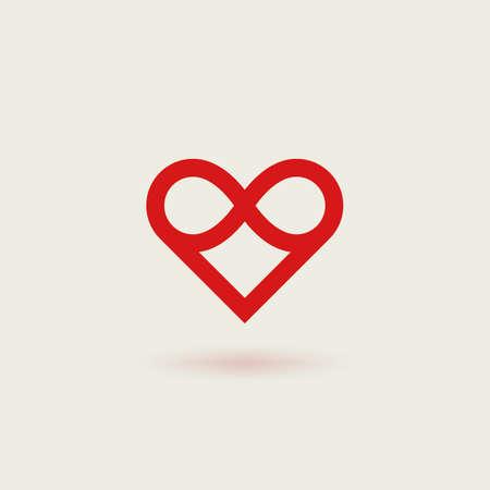 Outline vector logotype of heart. Design concept of infinite heart.