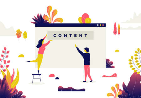 Modern flat illustration of filling web page with content.