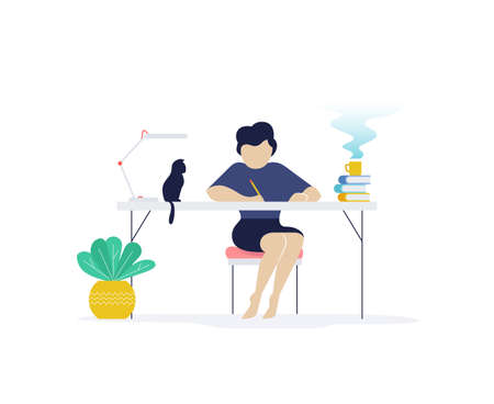Flat illustration of young woman studying or working at home with cat on table. Concept of freelance and home working.