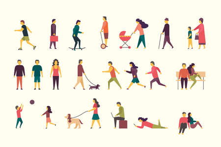 Flat illustration of people groups outdoor in the park on weekend. 矢量图像