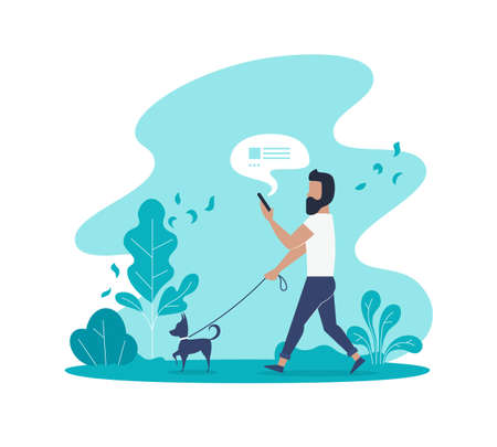 Flat vector concept of man texting message and walking with dog in park.