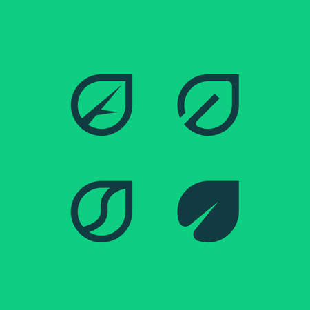 Vector outline and flat logotypes of leaves. Eco green logo.