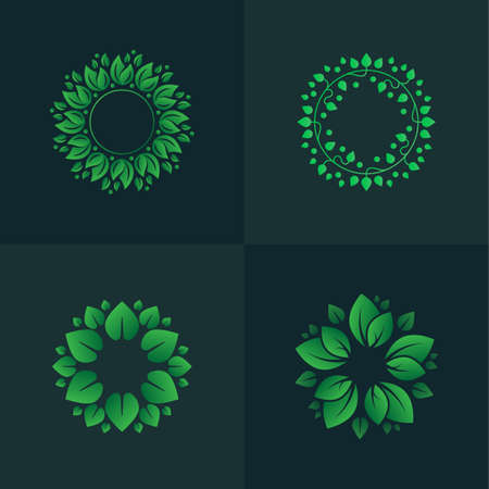 Set of gradient leaves circles. Circular floral ornaments for logo.