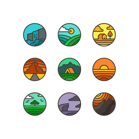 Vector flat set of nature logos. Emblems of landscapes with waterfall, sea, mountains, field and wood. Ilustração