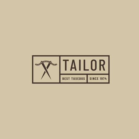 Rectangular black logo for meat clothing store. Hipster line art logotype with needles and thread.