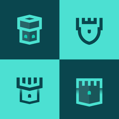 Minimalist vector logotypes of tower or castle with bold lines and gradients. Concept of security.