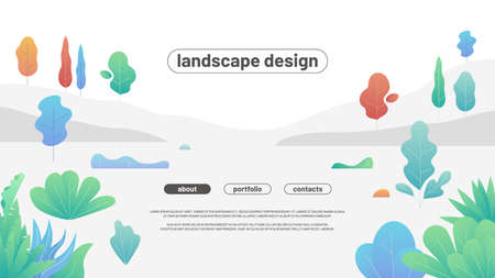 Modern flat landscape with gradient trees and bushes. Simple curved shapes.