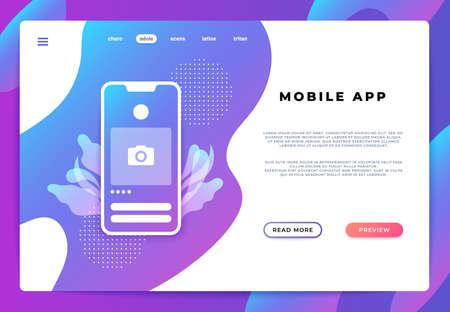 Mobile app landing page. Website ui platform, business banner, web page smartphone login. Vector illustration backend development.