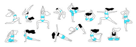 Girl yoga poses. Aerobic stretch fitness exercise,  female body workout figure, healthy and flexibility vector line posture. 스톡 콘텐츠 - 133565095