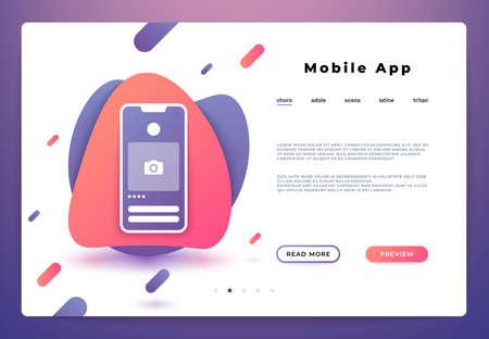 Mobile app landing page. Web page smartphone login, website ui platform, business banner. Vector illustration backend development.