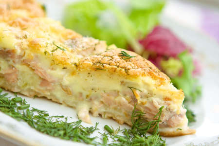 tasty home pie with salmon and cheese Stock Photo