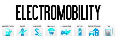 Electromobility Banner Template Icons Electric Car Business Design Pictogram Header Website