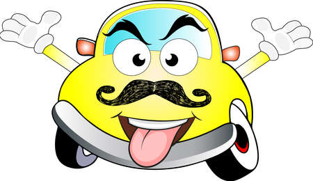 Funny angry yellow car with waving hands