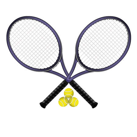 tennis racket:  two tennis rackets with their balls
