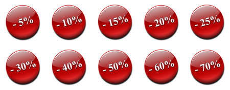 ranging: Set of sale labels ranging from five to seventy percent less.