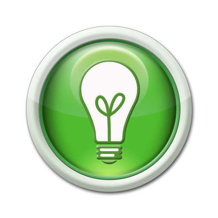 green button showing a bulb symbolizing ecology photo