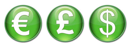 three green symbols representing the major currencies, the euro, the dollar, the pound. photo