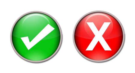 valider: Ic�nes de rouges et vertes repr�sentant true et false. Banque d'images