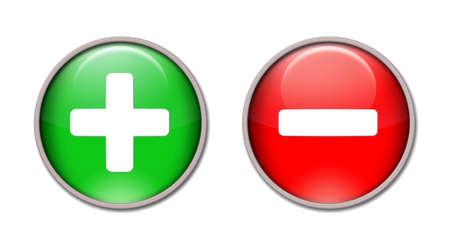 プラスとマイナスの赤と緑のボタン。