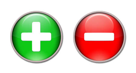 plus minus: Red and green buttons plus and minus. Stock Photo