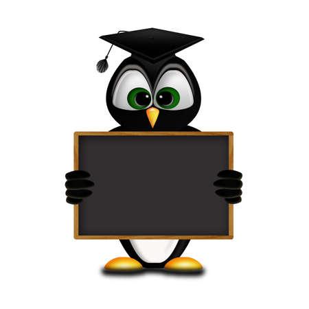 fresh graduate: graduate penguin holding a billboard