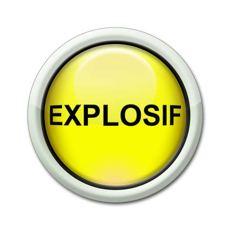 hydrogen bomb: yellow button with the word explosive