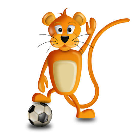 illustration of a lion with a soccer ball under the feet illustration