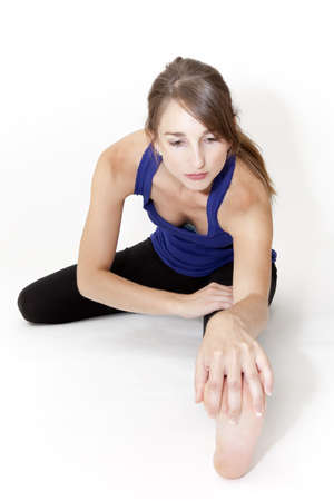 stretches: stretching before sport Stock Photo