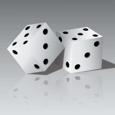 tossing: Vector illustration of two white dice
