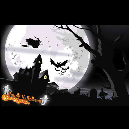 Spooky House at Halloween s night  Vector illustration Vector