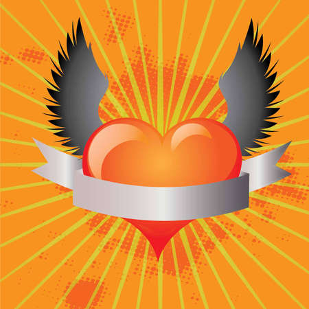 Background with winged heart in vector format Vector