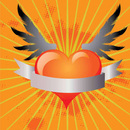 heart in flame: Background with winged heart in vector format