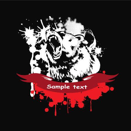 feroz: Grizzly selvagem em um quadro com uma fita vermelha