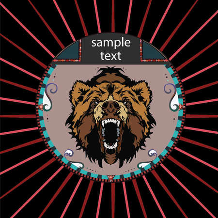 Portrait of a Grizzly Bear in a circle on a background of red rays Vector