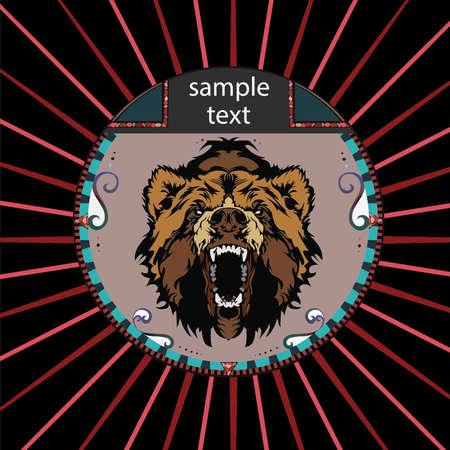 kodiak: Retrato de un oso grizzly en un c�rculo sobre un fondo de rayos de color rojo