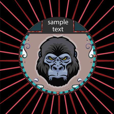 gorila: Retrato de un orangut�n en un c�rculo sobre un fondo de rayos de color rojo Vectores