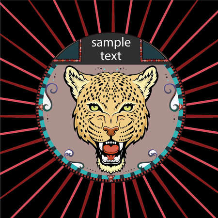 Portrait of a leopard in a circle on a background of red rays Vector