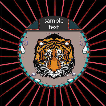 cat open: Portrait of a tiger in a circle on a background of red rays