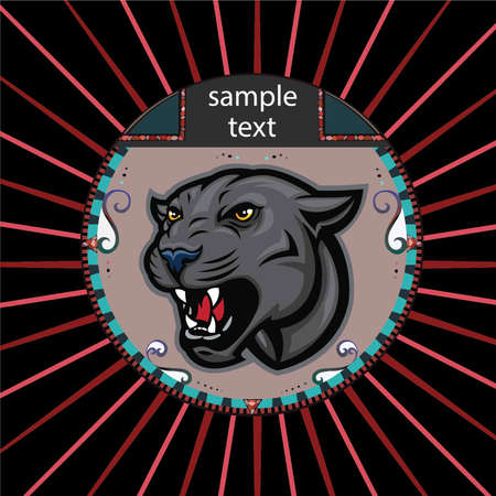 Portrait of a panther in a circle on a background of red rays Vector